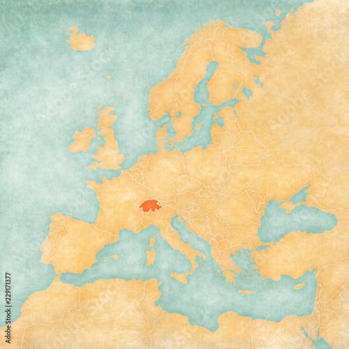 Photo Map of Europe - Switzerland