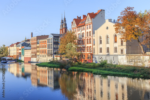 Opole - Panorama of Opole Venice seen from  other side of Mlynowka channel ( Odra branch)