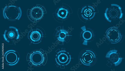 Fotografie, Obraz Vector icon set technology circle design.