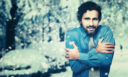 Canvas Print Portrait of a frozen businessman in the cold winter