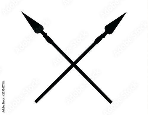 Crossed spears, isolated on white Fototapeta