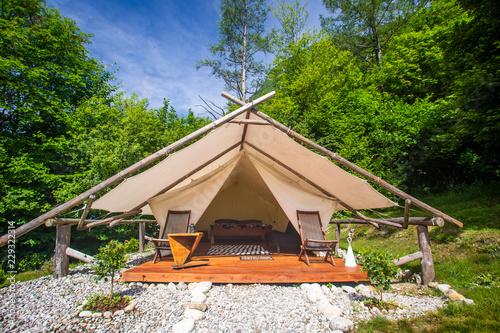 Obraz na płótnie Glamping tent exterior in Adrenaline Check eco camp in Slovenia.
