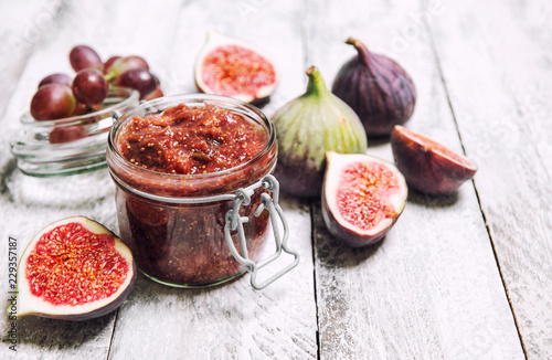 Figs jam in jar Fruit marmalade Homemade preserving
