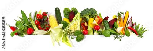 Fototapete Frisches Bio Gemüse - Panorama Freigestellt auf weißem Hintergrund