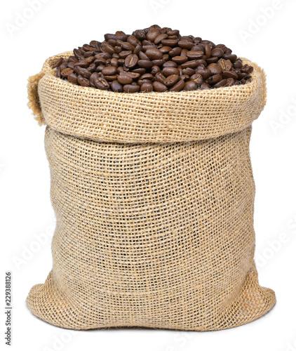Fotografia Roasted coffee beans in a burlap sack