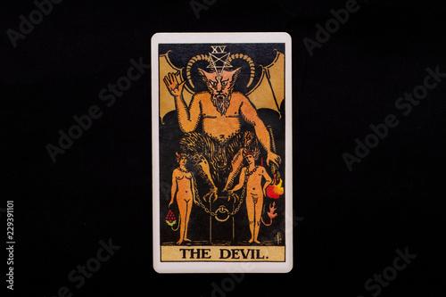 Canvas-taulu An individual major arcana tarot card isolated on black background