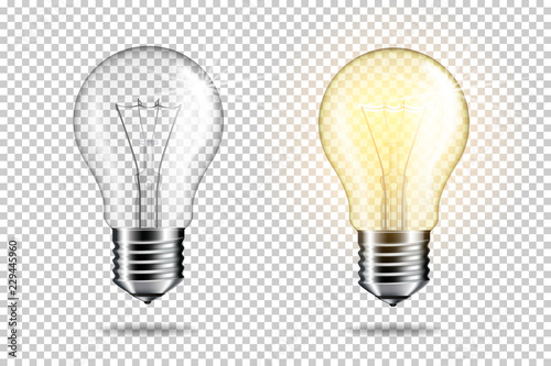 Fotografering Transparent realistic light bulb, isolated.