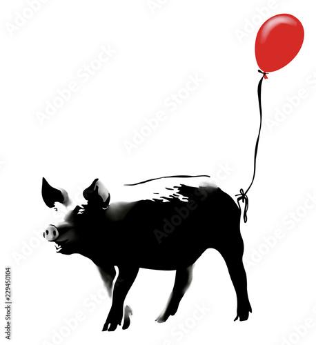 Obraz na płótnie Pig with red balloon