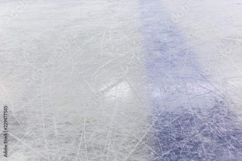 Canvas Print Blue Line on Hockey Rink