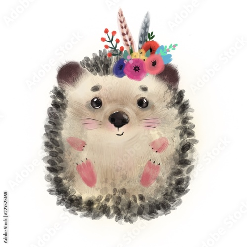 Tablou Canvas Cute hedgehog with flowers. Watercolor illustration