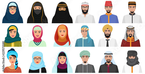 Canvas Print Islam cartoon people icons