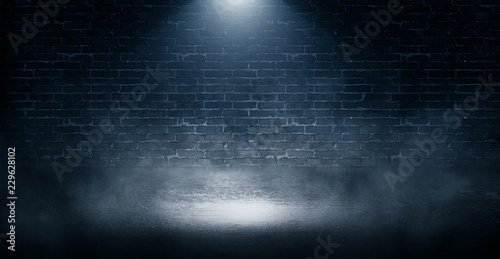 Background of empty brick wall, concrete floor, neon light, sear Fototapeta
