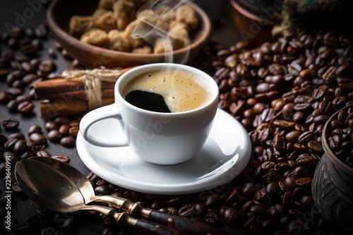 Black coffee on old background Fototapeta