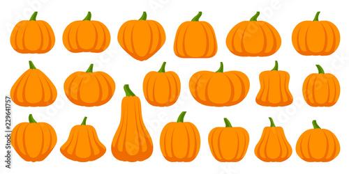 Canvas Print Pumpkin simple flat color icons vector set