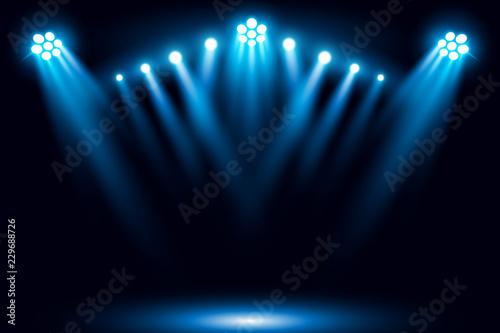 Fotografia Blue stage arena lighting background with spotlight vector illustration