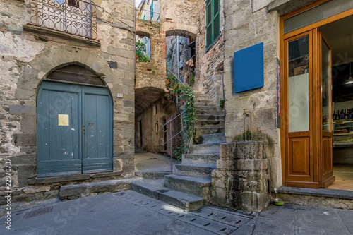Fotografie, Tablou Typical alley of the ancient hilltop village of Corniglia, Cinque Terre, Liguria