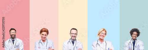 Kolaż profesjonalnych lekarzy na kolorowe paski na białym tle szczęśliwa twarz uśmiechając się ze skrzyżowanymi rękami, patrząc na kamery. Pozytywna osoba.
