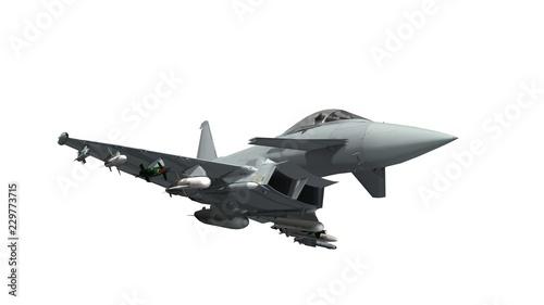 Obraz na plátně military fighter jet - armed military fighter jet isolated on white background