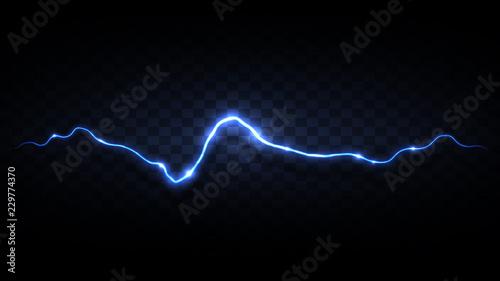 Fotografie, Tablou Black background with blue lightning