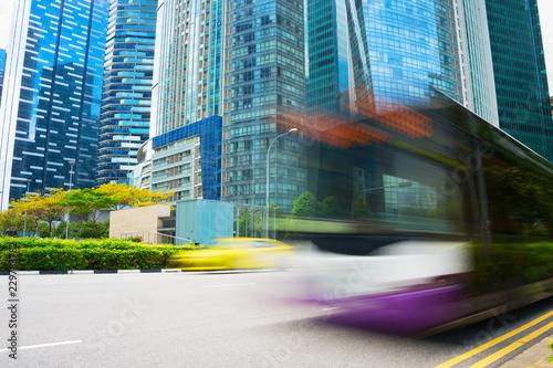 Bus motion blur Singapore Downtown
