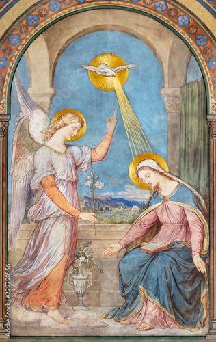 Leinwand Poster PRAGUE, CZECH REPUBLIC - OCTOBER 17, 2018: The fresco of Annunciation in the church kostel Svatého Cyrila Metodeje by Petr Maixner (1872)