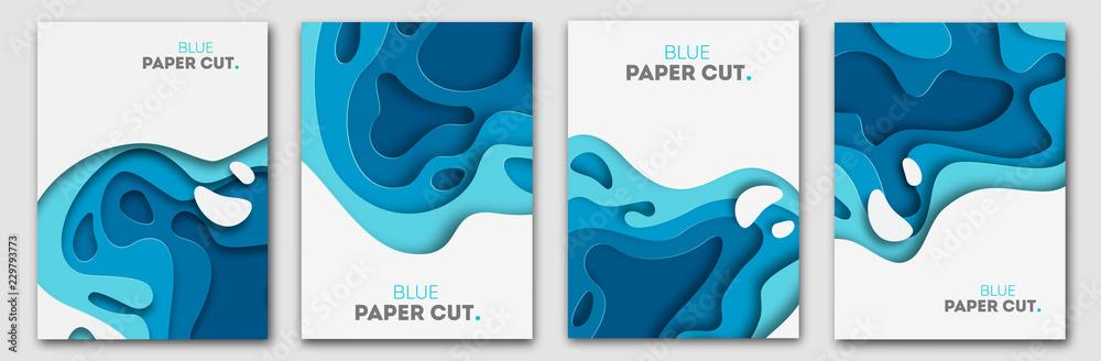 Koncepcja projektu cięcia papieru na ulotki, prezentacje i plakaty. Wektorowa abstrakcjonistyczna cyzelowanie sztuka. Białe i niebieskie trójwymiarowe pionowe banery. <span>plik: #229793773   autor: Vitaliy</span>