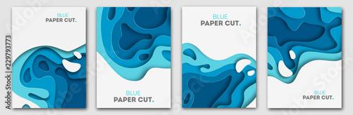 Koncepcja projektu cięcia papieru na ulotki, prezentacje i plakaty. Wektorowa abstrakcjonistyczna cyzelowanie sztuka. Białe i niebieskie trójwymiarowe pionowe banery.