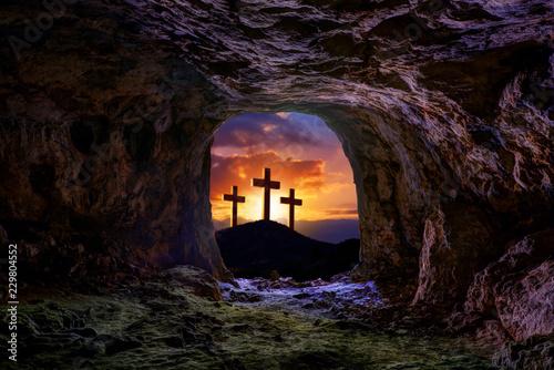 Fotografia Jesus resurrection sepulcher grave cross