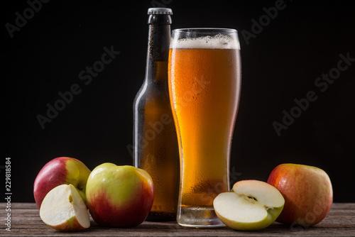 Cold cider and apples Fototapeta