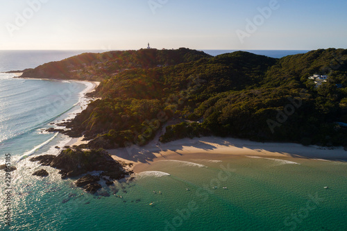 Tablou Canvas Byron Bay, New South Wales/Australia - 14 August 2018: Aerial drone image over the beach and water at Byron Bay