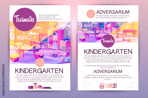 Vector brochures with cartoon kindergarten for children, teaching in preschool institution. Booklet with playground, recreational stuff and interior of kids room.Pamphlet isolated on bright background