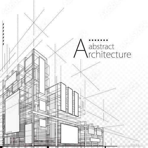 Fototapeta premium Architektura budynku budowy 3D projekta abstrakta miastowy tło.