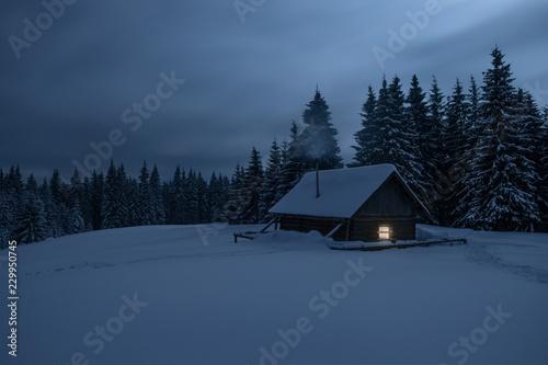 Stampa su Tela Wooden cabin under stars