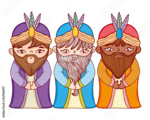 Christmas nativity scene cartoon Fototapeta