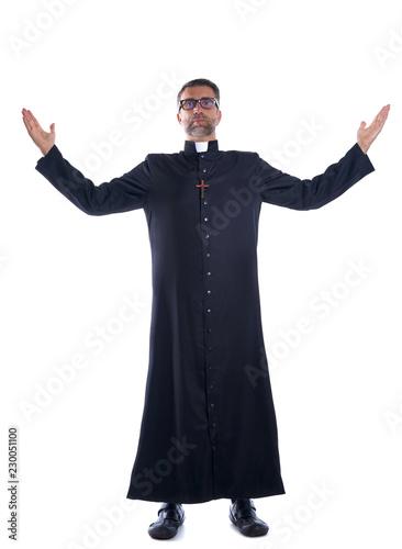 Obraz na plátně Full length priest blessing open arms