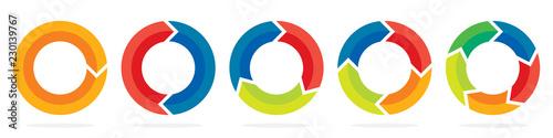 Slika na platnu Set of circle arrows. Vector illustration.