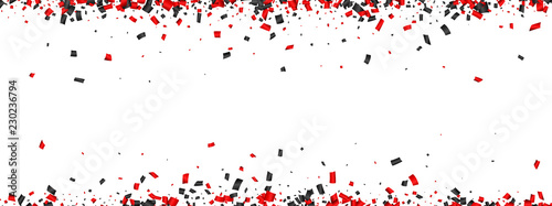 Photo White festive banner with red and black paper confetti.