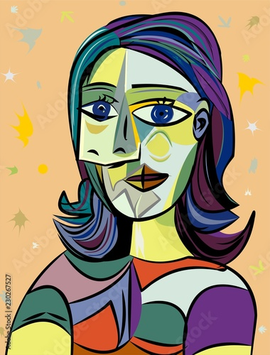 Colorful abstract background, cubism art style,woman portrait