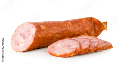 Fotografia Rocking sausage cut into pieces close-up on a white. Isolated.