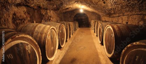 Fotografie, Tablou Old oak barrels in an ancient wine cellar