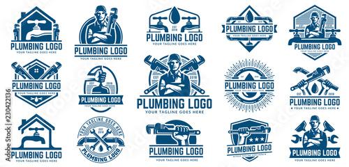 Fotografija 15 Plumbing logo template pack, with retro or vintage style.