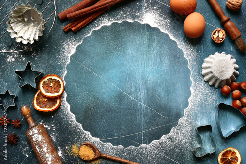 Food background with ingredients and props for baking.Top view with copy space.