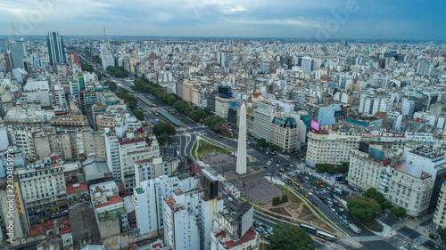 Obraz na płótnie Aerial view of Obelisco de Buenos Aires (Obelisk), historic monument, in the Plaza de la Republica at avenues 9 de Julio, Buenos Aires - Argentina