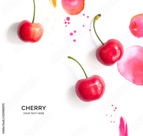Creative layout made of cherry on the watercolor background Fototapete