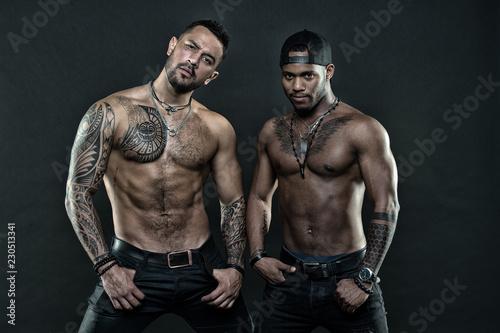 Canvas Print Men tattooed muscular body