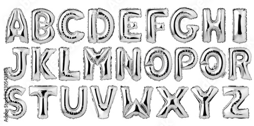 Fotografia English alphabet from silver balloons isolated on white background