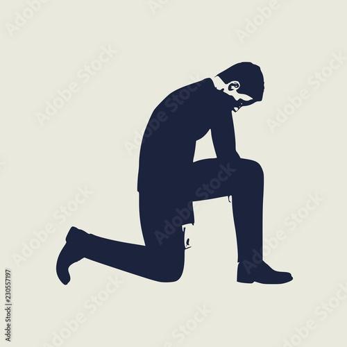 Fotografija Illustration of silhouette of businessman stand to kneel.