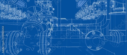 Obraz na plátně Sketch of industrial equipment. Vector