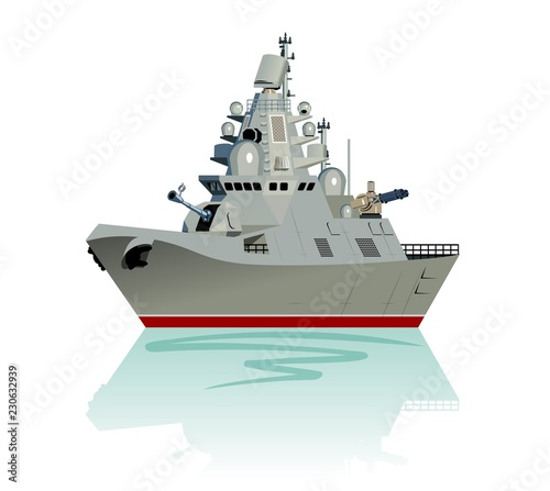Canvas Print Vector cartoon modern military frigate isolated on white.