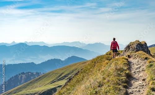Fotografie, Obraz nice senior woman, hiking in fall, autumn  on the ridge of the Nagelfluh chain n